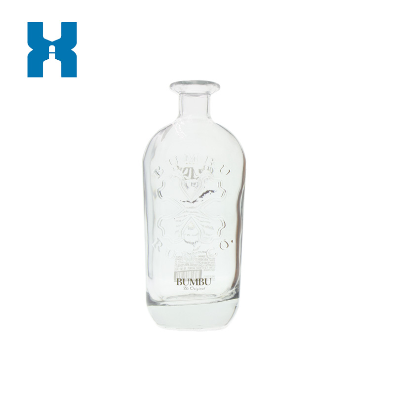 750ml Crystal Glass Bottle Embossed Custom Glass Bottle