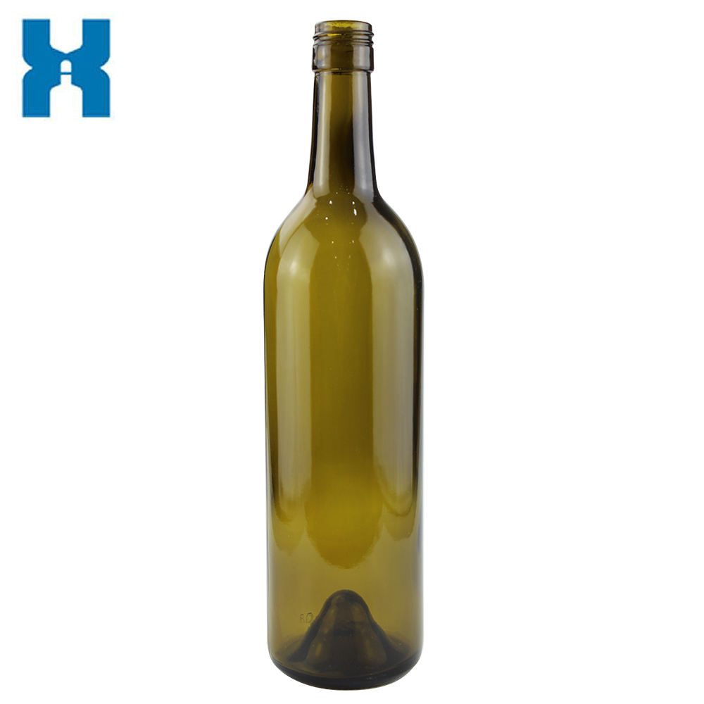 750ML GLASS BOTTLE FOR WINE ANTIQUE GREEN COLOR HIGH QUALITY