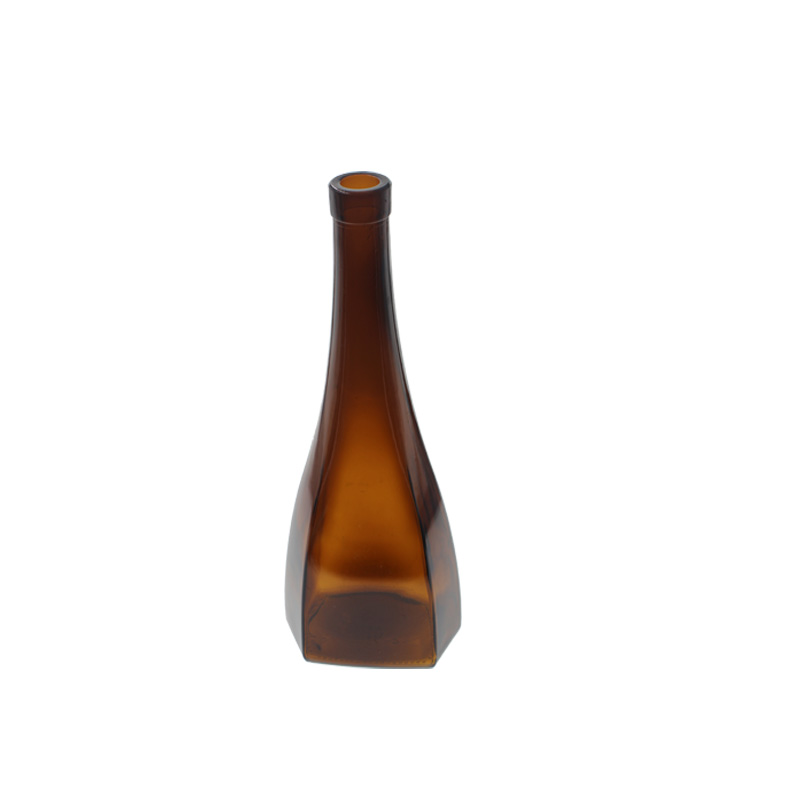 750ml Amber Glass Bottle with Unique Design